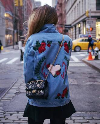 jacket tumblr blue jacket denim jacket vintage coat embroidered embroidered jacket embroidered denim skirt mini skirt black skirt bag black bag embellished bag embellished chain bag rose embroidered