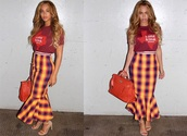 skirt,beyoncé kowles,pencils,peplum,hem,ankle length,checkered,red,blue,mustard,midi,peplumhem