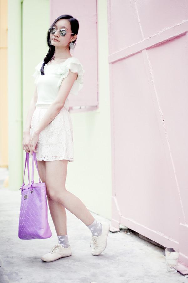pupuren blogger top skirt jewels bag socks shoes