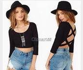 shirt,black,backless top,crop tops,long sleeves,tank top,top,to`,tumblr,hipster,summer,outfit,summer outfits,love,cute,cropped,topshop,black top,tags for help,hat,necklace