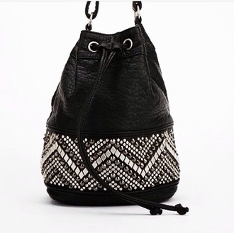 bag leather bag studs studded bag black bucket bag