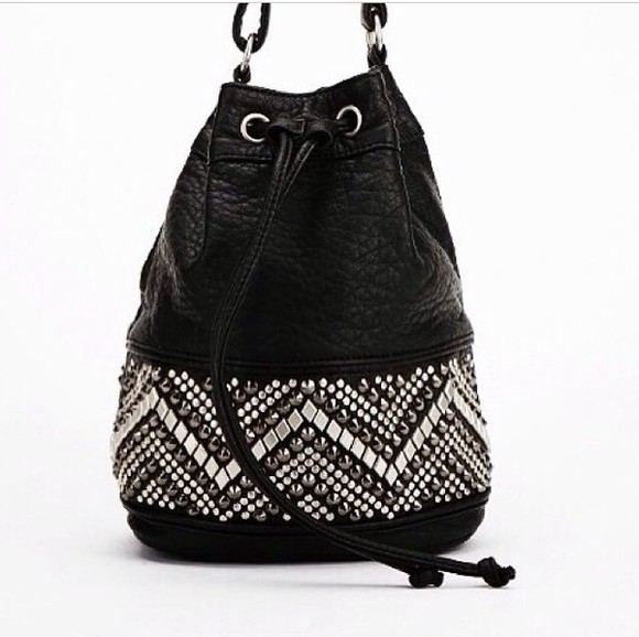 studs black bag leather bag studded bag bucket bag
