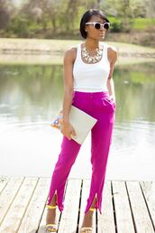 shoes,white top,fuchsia pants,silver statement necklace,blogger,yellow sandals,sunglasses
