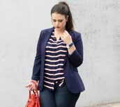 jacket,plus size interview outfit,curvy,plus size shirt,plus size,denim,jeans,plus size jeans,stripes,striped shirt,blazer,blue blazer,bag,red bag,work outfits,office outfits