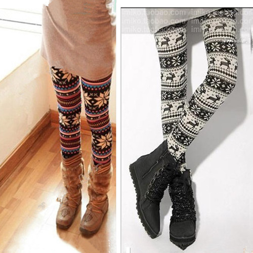 Women Multi Color Ankle Snowflakes Leggings Tights Pant Knit Look