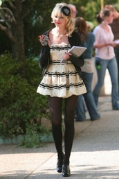 taylor momsen,dress,black and white,gossip girl,perfect,short dress,jenny humphrey,cute dress,pretty