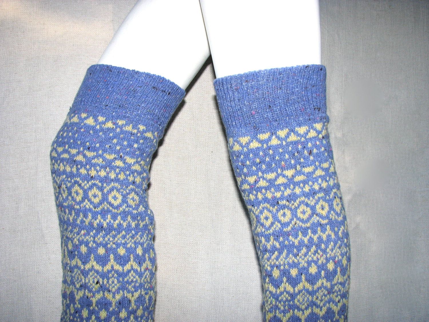 Fair Isle / Jacquard Knit Over the Knee/Thigh High Legwarmers/Leg Warmers - Wool Tweed Yarn