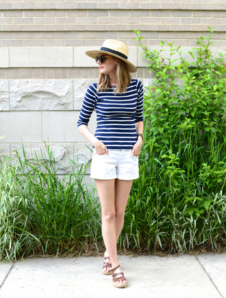 see jane blogger cuffed shorts striped top see anna jane hat shorts