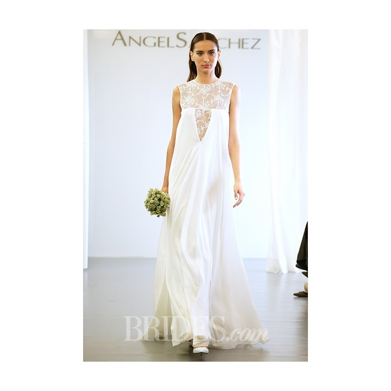 Angel Sanchez - Fall 2015 - Chantilly Lace Embroidered Bodice Trapeze Crepe Wedding Dress - Stunning Cheap Wedding Dresses|Prom Dresses On sale|Various Bridal Dresses