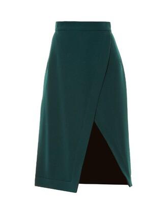 skirt split skirt green