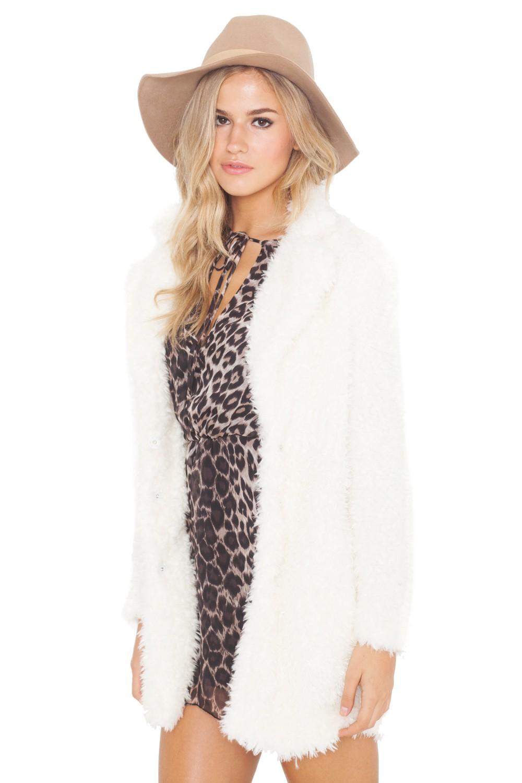 Abrigo de pelo miss fur beige