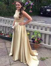 dress,gold,beading prom,gold prom dress,prom dress,prom beauty,long dress,long prom dress,two-piece,high neck,sleeveless,sleeveless dress