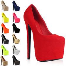 NEW WOMENS POINTY LADIES PLATFORM HIGH HEEL 7 INCH STILETTO COURT SHOES SIZE 3-8 | eBay