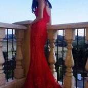 dress,morrell maxie,lace dress,fit and flare dress,prom dress,red dress