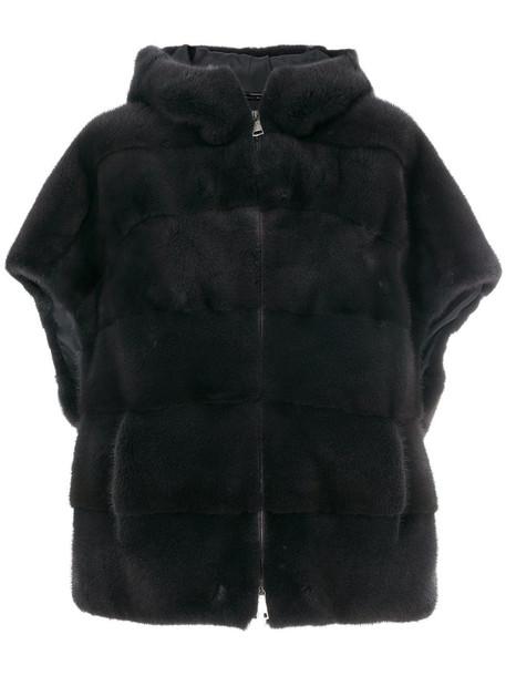 Manzoni 24 jacket hooded jacket fur women silk grey