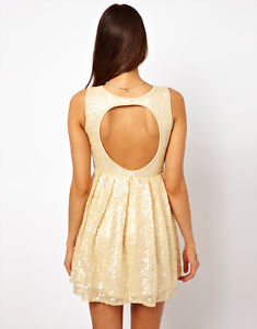 Rare Sequin Embellished Skater Prom Dress With CUT OUT Back IN Nude UK 12 EU 40 | eBay