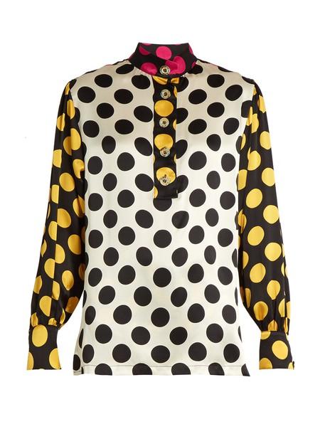 Duro Olowu blouse print silk satin black yellow top