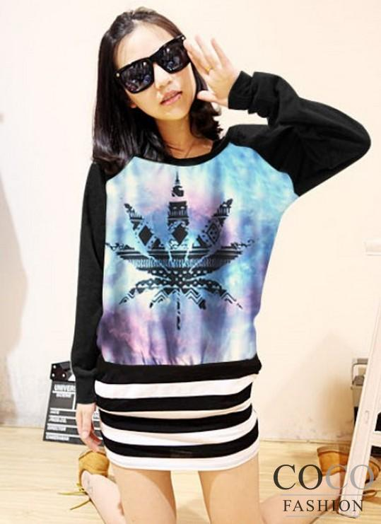 Fashionable Galaxy Print Classic Cut Round Neckline Ladies Sweatshirt