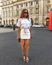 skirt,top,t-shirt,white skirt,shoes,sandals,denim sandals