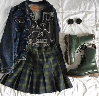 skirt boots jacket alternative indie grunge aetshetic black led zeppelin cute tumblr