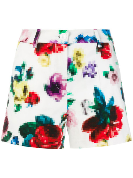 shorts women spandex floral white cotton