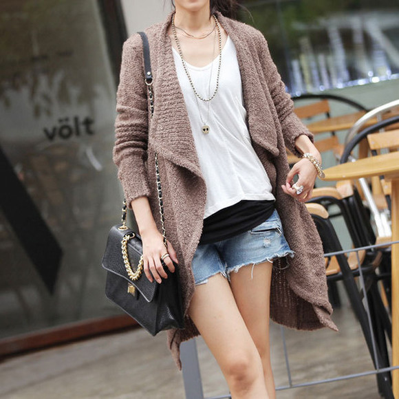 oversize cardigan coat pure color warm