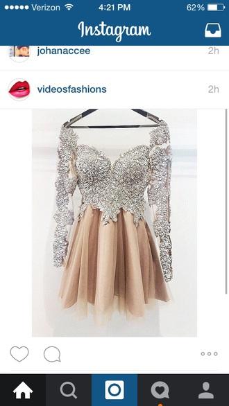 dress beige dress silver dress prom dress short prom dress
