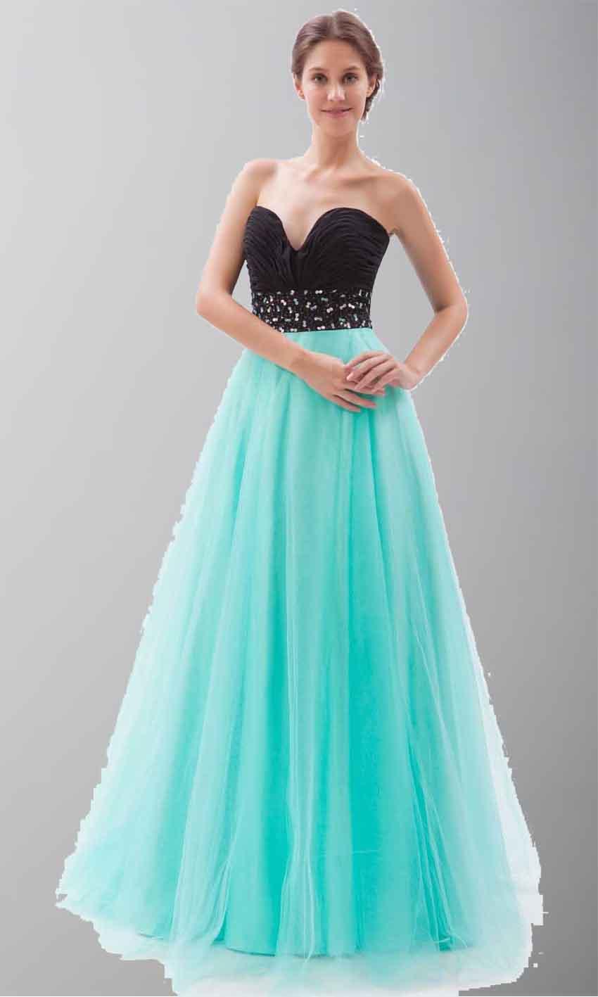 Black And Teal Soft Tulle Long Princess Prom Dresses KSP264 [KSP264 ...