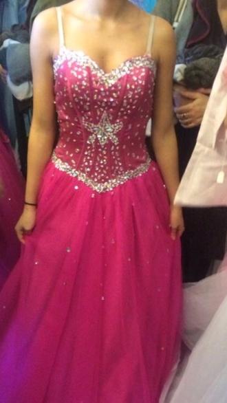 dress hot pink long prom dress homecoming pink pink dress princess dress glitter glitter dress cinderella prom dress