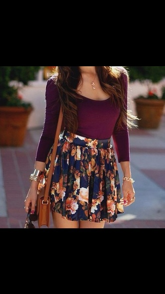 skirt top burgundy sweater flowered shorts long sleeves cute dress dress