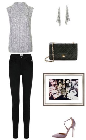 krystal schlegel blogger skinny jeans black jeans chanel bag knitted top sleeveless