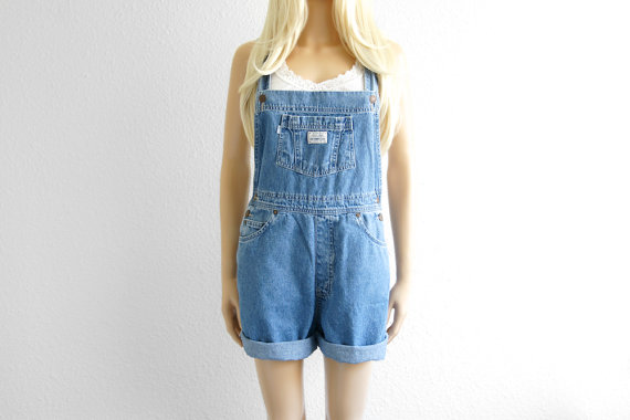 Levi Denim Overall Shorts Denim Overalls Women by 2treasurehunt