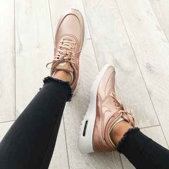 shoes the exact shoes nike air max rose gold gold women nike shoes tennis shoes sneakers cute hot exercise outfit cute shoes style trendy shiny nude nude sneakers nikes