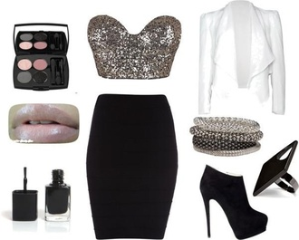 top crop tops blazer skirt sequins black white