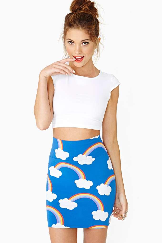 NG X Lazy Oaf Rainbows Skirt  in  Clothes at Nasty Gal