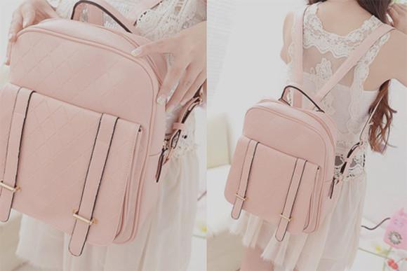 light pink bag backback back to school travel small