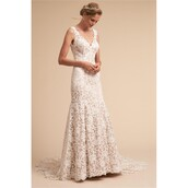 dress,wedding dress,bhldn,ivory dress,back,lace dress