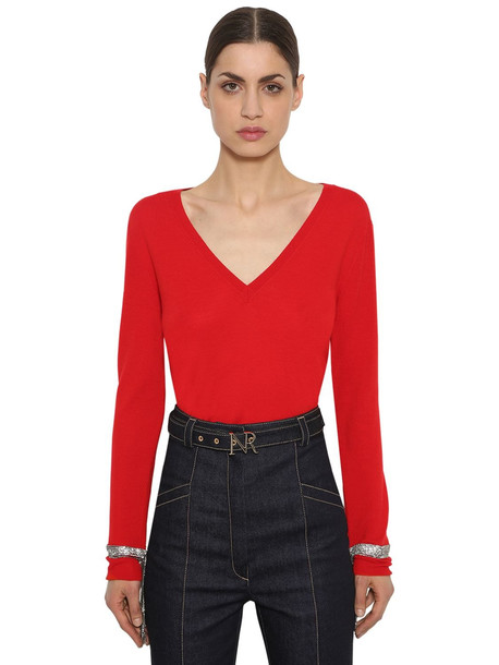 sweater wool knit red
