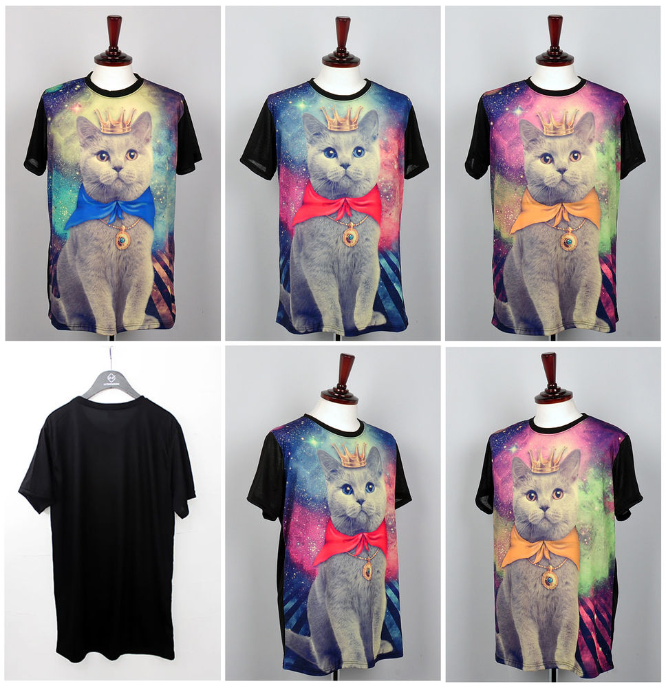 Galaxy cat graphic stellar print t shirts for womens short sleeve loose top blue