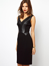 dress,black,bodycon,fashion,girl,sexy,elegant,chic,clubwear,pu,cool,party,bqueen,v neck,sleeveless