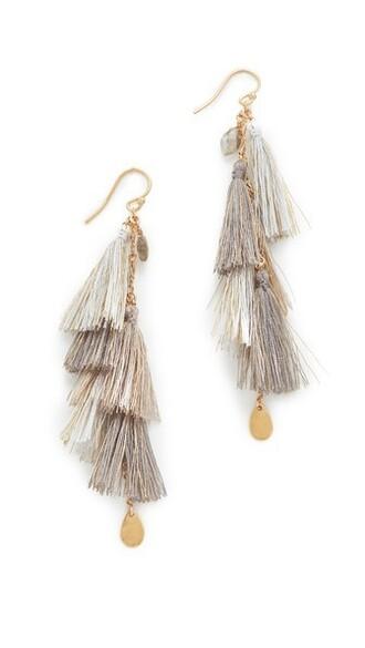 tassel earrings grey jewels