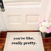 scarf,welcome mat,home accessory,home decor,quote on it,rug,doormat,girly,mean girls,dorm room,carpet