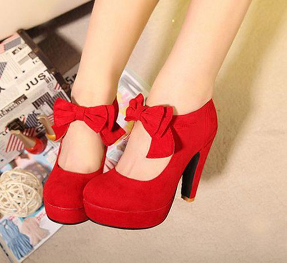 Pin up cute red red shoes red heels red heels with bow in front bow shoes romantic