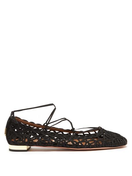 Aquazzura flats lace suede black shoes