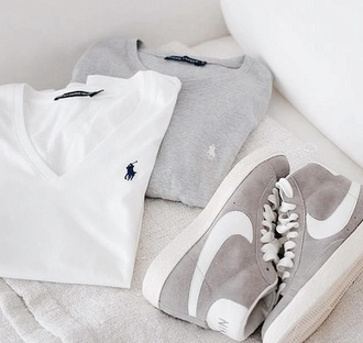 top white or grey white polo grey polo sportswear elegant long sleeves high top sneakers suede sneakers shoes nike grey white grey and white high waisted shirt ralph lauren polo polo shirt v neck