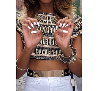 t-shirt crop tops jewels belt