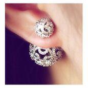 jewels,body kandy couture,double earrings,filigree earrings,two way earrings,two sided earrings,double sided earrings,double ball earrings,baller earrings,ball earrings,post earrings,stud earrings,Bijoux earrings,diamonds,ear jackets,earings,earrings,jacket earrings,trendy earrings,pave earrings,vintage style earrings,Pave ball earrings