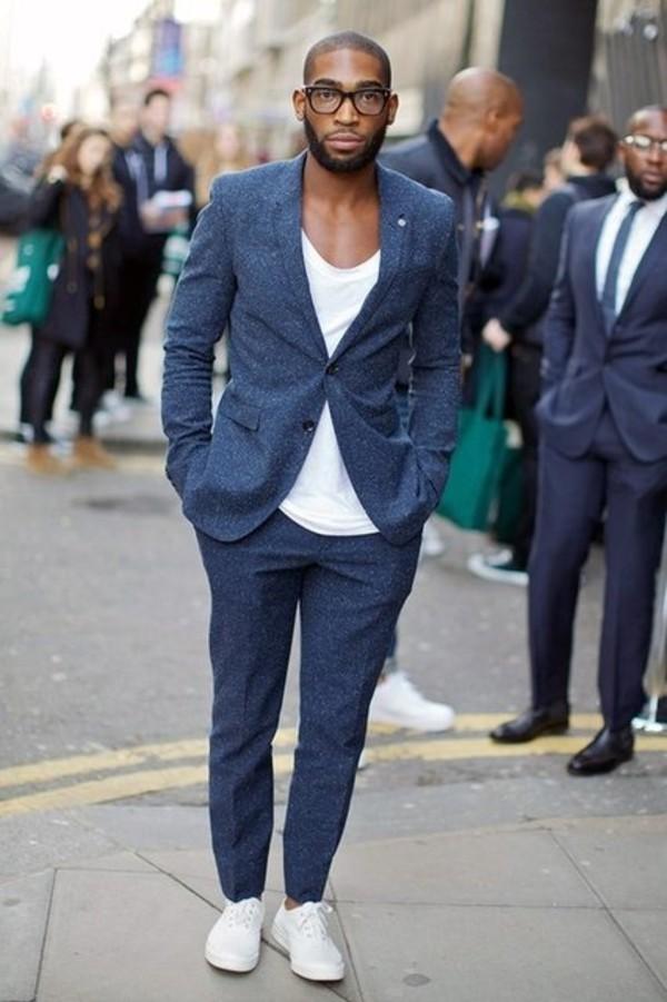 Dress: tinie tempah, blue suit, navy suit, suit, mens suit, mens ...