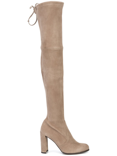 STUART WEITZMAN women over the knee nude suede shoes