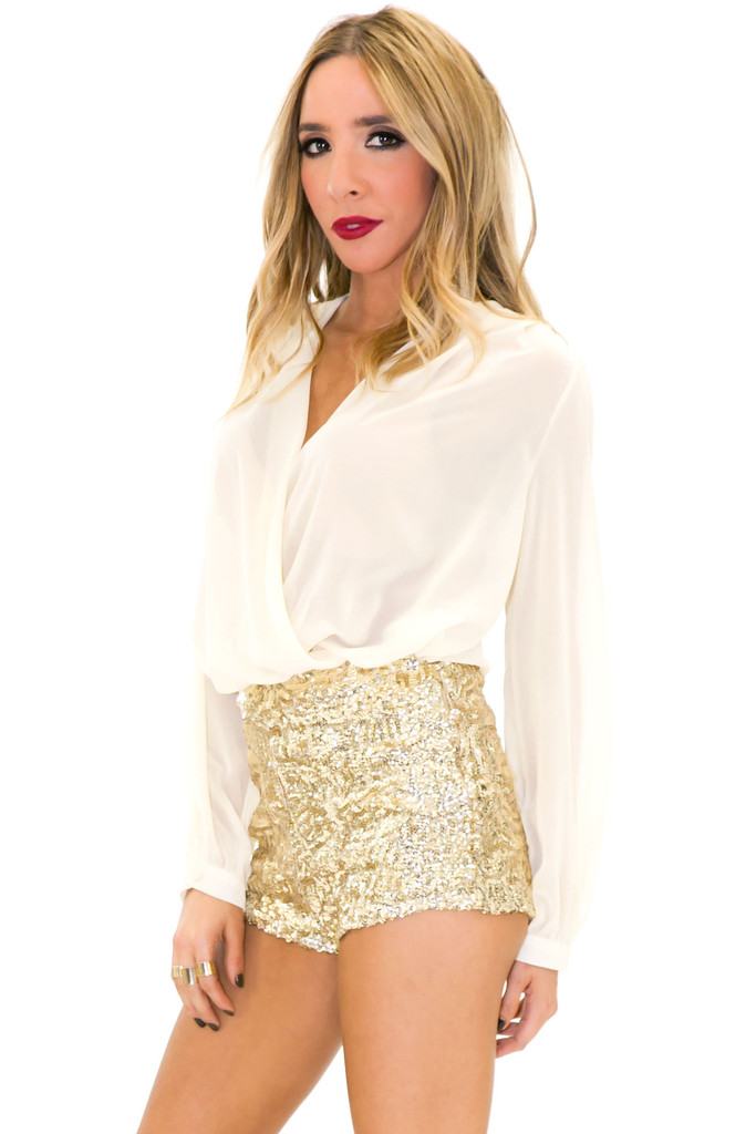 PAULIN HIGH-WAISTED SEQUIN BOOTY SHORTS | Haute & Rebellious